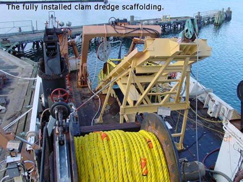 Clam dredge scaffolding installed on the NOAA research vessel, Delaware II, for a surfclam and ocean quahog survey. These surveys monitor the shellfish resources and are critical for their effective management.