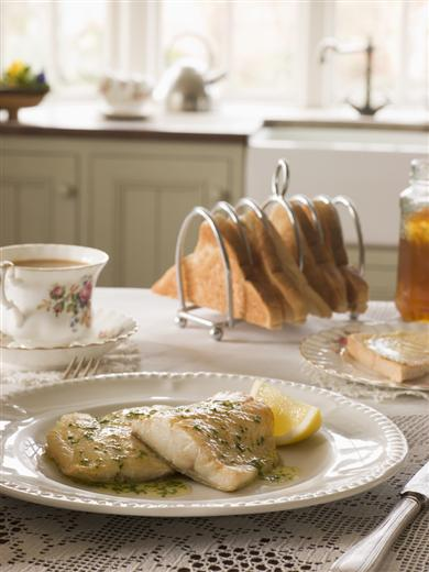 Haddock fillets served with a lemon sauce.