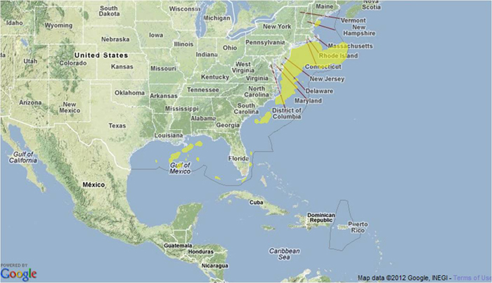 Map image showing where Atlantic Shortfin Mako Sharks are found.