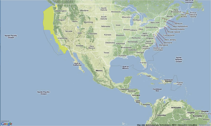 Location map for Pacific whiting.