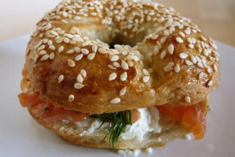 Lox and shmear on a homemade bagel. Credit: WordRidden (CC BY 2.0).
