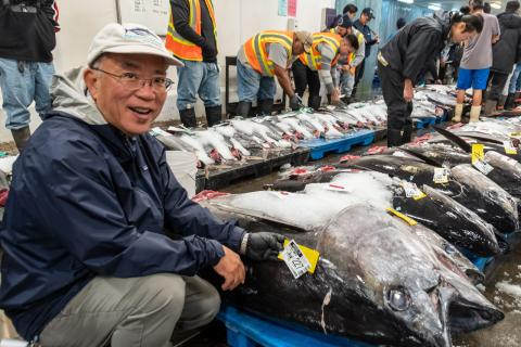 John Kaneko, program manager for the Hawaii Seafood Council, at the Honolulu Seafood Auction.